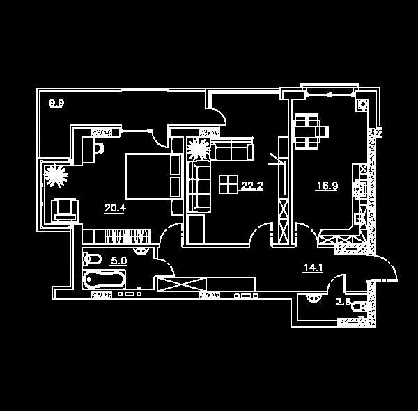 левая верхняя квартира с мебелью_Монтажная область 1